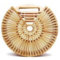 Best Factory wholesale fashion beach bamboo handbags, 20cm round hand bamboo bag, shoulder bamboo bags wholesale