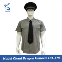 Best Men / Women Long Sleeve Security Guard Shirts With 100% Cotton Materials , Dark Grey Color wholesale