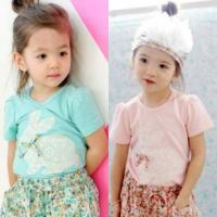 China 2014 New baby girls short T-shirts Rabbit T-shirts wholesale children's T-shirts 5 pcs/lot on sale