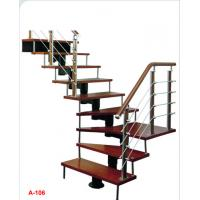 China indoor carton steel single stringer powder coated stainless steel glass railing straight staircase stairs on sale