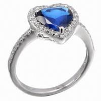 Best Sapphire Silver Ring, Available in Various Styles, OEM and ODM Orders Accepted wholesale