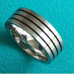 Best 8mm Flat Cobalt Chrome Satin Brush Finish Wedding Band Ring w/ 3 Black Lines wholesale