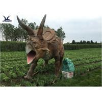 Best Life Size Farm Animal Models , Full Size Triceratops Dinosaur Lawn Sculpture  wholesale
