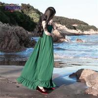 Best Chiffon style empire waist green maxi long one piece dresses modern lady casual autumn dress with low price wholesale