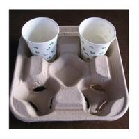 Best Biodegradable Molded Pulp Products / Recycled Paper Pulp Products For Coffee Tray wholesale