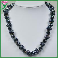 Best Fashionable dyed black long baroque freshwater pearl necklace with crystal wholesale