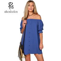 Best Summer Casual Party Dress Strapless Sexy Women Beach Dress Solid Plus Size wholesale