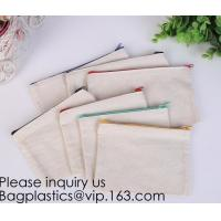 Best Office Stationery custom logo printed plain Cotton Canvas pencil case bag with zipper,stationery bag paper holder file h wholesale