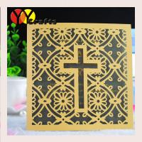 Best Luxury square wedding cards baptism gold invitation card with laser cut cross design wholesale