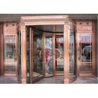 China Bronze Engraving Flower Hotel entrance automatic revolving door OEM service on sale