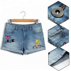 Best Summer Teen Girl Jean Shorts With Pockets , Mid Waist Girls Stretch Denim Shorts wholesale