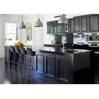 Best European Pvc Kitchen Cabinets Waterproof Kitchen Units Black Color With Island Bench wholesale