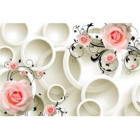 Best Embossed Surface 3D Wall Decor Panels Pink Roses For Hotel TV Background Wall wholesale