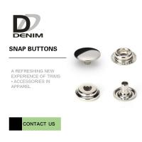 China Overcoat Flat Silver Snap Buttons | Snap Closure Buttons 4 Parts Design Metal Cap Snap Fasteners on sale