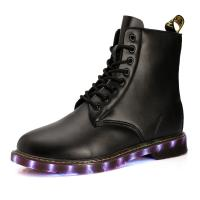 Best USB shoes charging shoes LED lights shoes men boots all sizes pu uppper RB sole black or brown wholesale