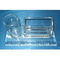 Best Table Top Clear Acrylic Staionery Plexiglass Card Holder With Pen Holder wholesale