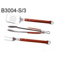 China 3 pcs BBQ Tool Set w/Bamboo Handle on sale