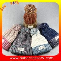 Buy cheap AK17014 Sun Accessory customized acrylic knitted hat and cap, logo can be sewing from wholesalers