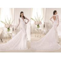 China Sheer Front Lace Mermaid Wedding Dresses Backless With Long sleeve on sale