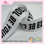 Custom printed cotton ribbon Character Silkscreen Printed , double faced satin ribbon 38mm