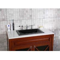 China Black Granite Countertops Single Sink Polished Treatment CNC Engraved on sale