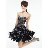 Best Strapless Black Short Evening Party Dresses Mini And Organza wholesale