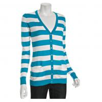China Aqua / White Winter Striped Cardigan Womens Knitted Sweaters With V Neck on sale