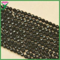 Best AAA grade 6mm loose faceted round natural black agate gemstone for bracelet wholesale