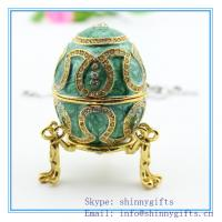 China Cheap Easter Gifts/Popular luxury Faberge Egg /metal jewelry box/pewter trinket box on sale