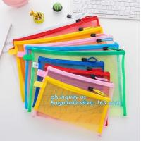 Best Office Stationery Mesh Bags With Slider Zipper, expanding file/folder/File cover/documents pouch carry bag wholesale
