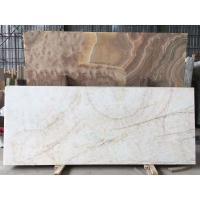 Buy cheap OEM White Onyx Marble With Khaki Brown Veins Tiles Slab / Countertop Marble Slab from wholesalers