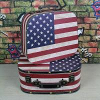 China USA flag portable vintage suitcases for storage travel suitcase themed wedding sweets on sale