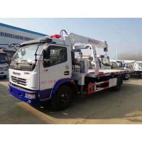 Best Dongfeng 5tons winch hydraulic mounted crane 3.2 ton slide tray body china rollback wrecker beds truck for sale wholesale