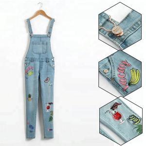 Best Embroidered Suspender Little Girl Denim Overalls Slim Fit Color Fade Proof wholesale