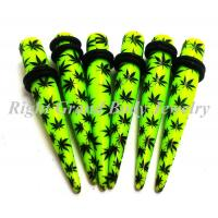 Best Multi Leaf Ear Stretchers Tapers Green Resin 8mm For Anniversary wholesale