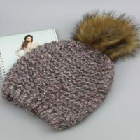 Best winter knit hat with raccoon fur ball fur pom poms 100%acrylic knitted hat wholesale