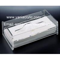Best Decorative Rectangle Grey Weatherability Acrylic Tissue Holder / Facial Tissue Dispenser For Hotel wholesale