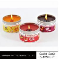 Best Small Exquisite Wax Scented Tin Candles Round Sticker For Travel And Festival wholesale