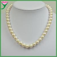 Best 8-9mm AAAA white round natural fresh water pearl beaded necklace wholesale
