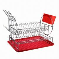 Best Kitchen Dish Rack, Made of Iron Wire with Chrome-plated Finish, Customized Designs are Accepted wholesale