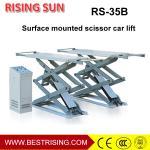 Best 3.5T free standing double platform 4 cylinder hydraulic scissor car lift wholesale
