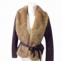China Women's winter fake fur coat, suede bonded with fake fur, deep brown, with press button closure on sale