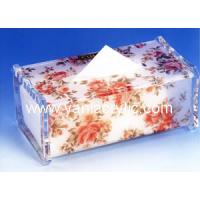 China Decorative Flower Rectangle Acrylic Tissue Holder / Facial Tissue Dispenser For Hotel on sale
