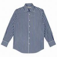 China Men's Cotton Dress Shirt, blue and white striped, 120 x 80 density on sale