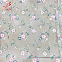 Best Colorful Floral Embroidery Fabric With Sequins Swiss Mesh Volie Lace wholesale