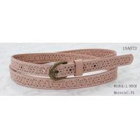 Best Old Brass Buckle Pink PU Ladies Stretch Belts With Punching Patterns wholesale