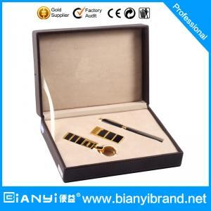 Best Custom boxed corporate pen keychain men gift set wholesale