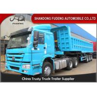 China Hydraulic Self Discharge Dump Semi Trailer 8mm Plate Side Wall 6mm 60 Cubic on sale