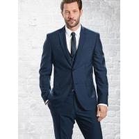 Best Mens 3 Piece Suits with Single Back Vent / Customized Blue Formal Wear wholesale