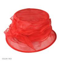 Best Red Packable and Crushable Fashion Polyester Organza Hat for Women with Satin Sweatband wholesale